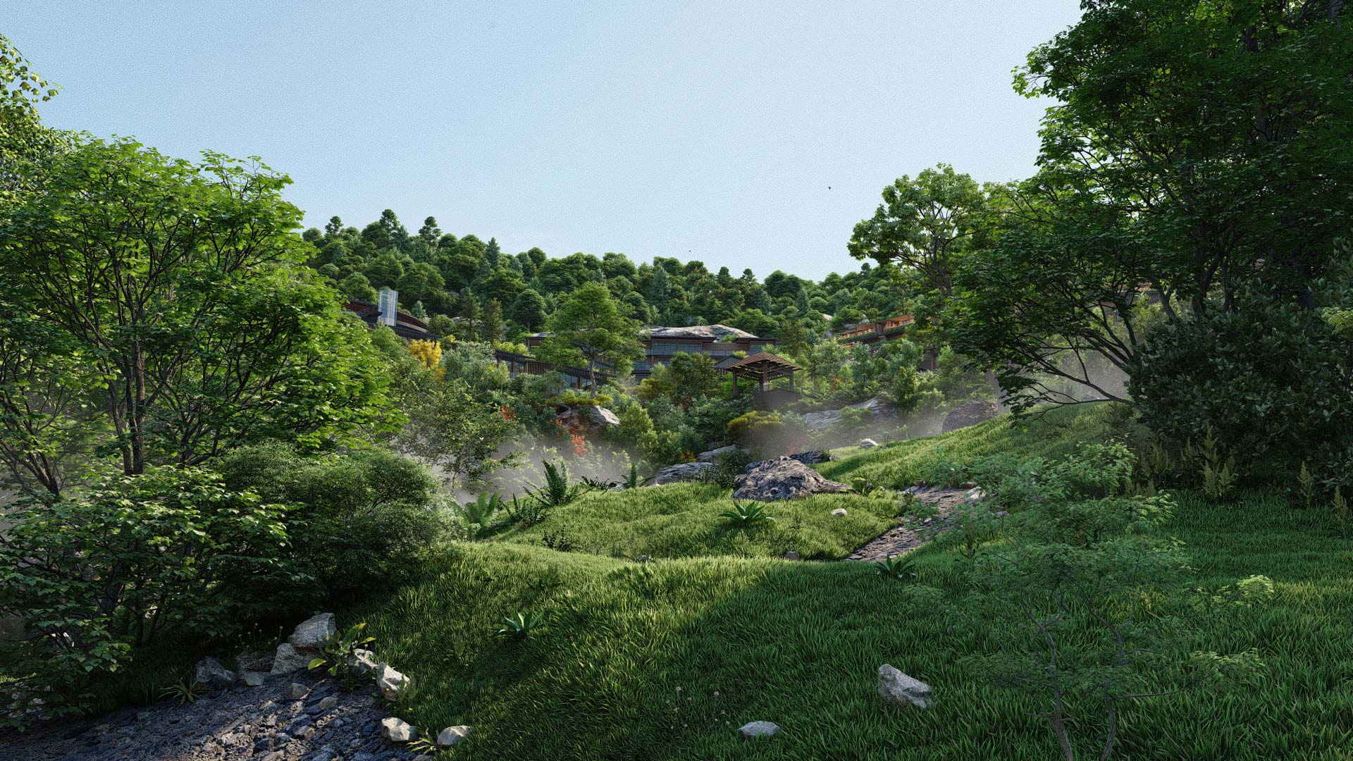 Hillside accommodations by Beehive and King Crab | Lumion Rendering