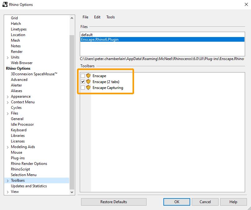 Cửa sổ tùy chọn Rhino